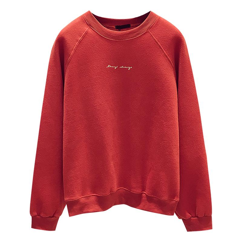 加绒加厚圆领卫衣女2018新款秋冬季韩版宽松套头长袖玫红色上衣潮