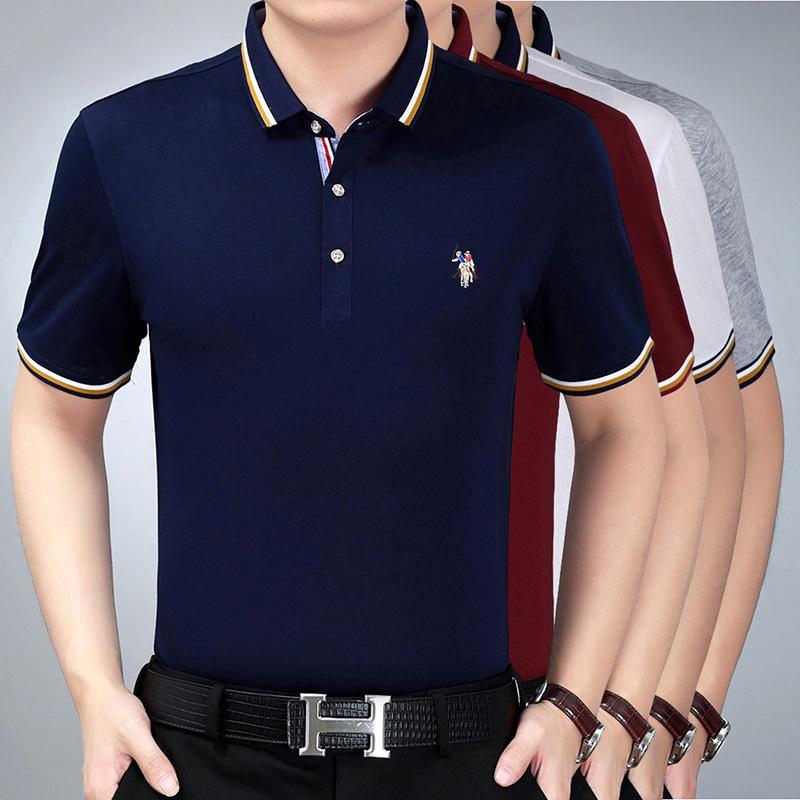 中年短袖t恤男夏季薄款翻领免烫打底衣服大码宽松纯色半袖体恤衫