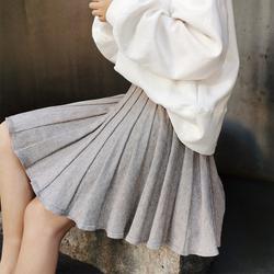Miss宋 秋冬新款针织百褶短裙高腰伞裙女短款加厚打底裙a字半身裙