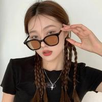 韩版潮黑框茶色墨镜女夏季防晒2021新款圆脸大脸显瘦网红太阳眼镜