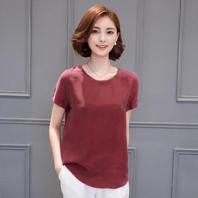 寬松重磅銅氨絲上衣 2019 夏季新款大碼真絲短袖t恤女純色打底衫