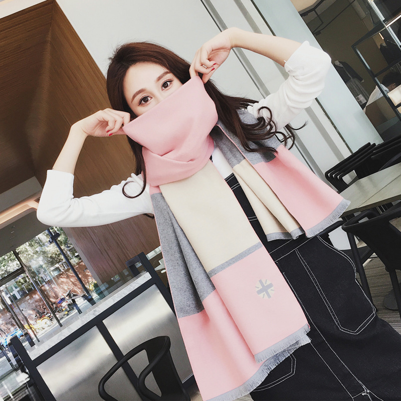 Autumn and winter new color matching cashmere scarf warm shawl fashion pattern printing double side scarf