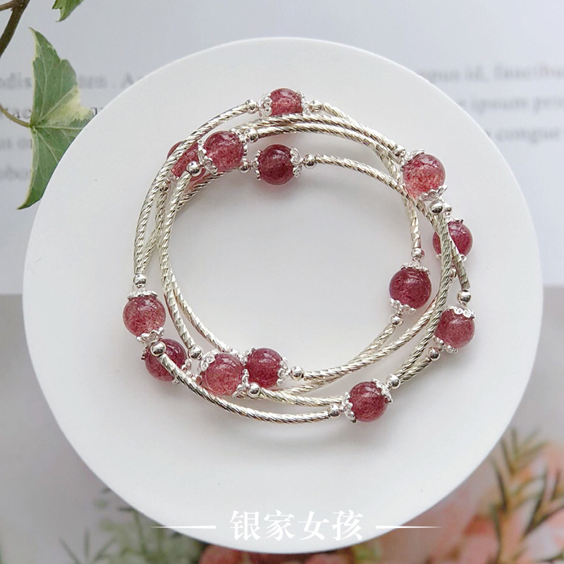 Natural strawberry crystal Aquamarine Bracelet female Sterling Silver Multi circle Crystal Bracelet