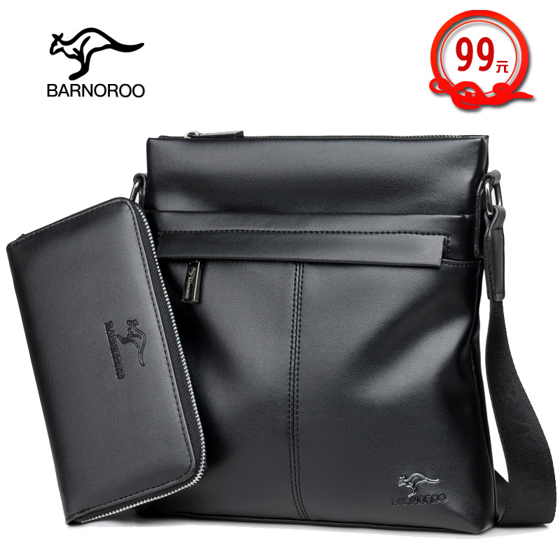 Mens bag 2019 new fashion leisure multifunctional portable straddle business leather mens bag single shoulder bag kangaroo