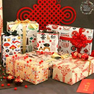 中国元素礼品包装纸新春过年戏曲红色礼物纸中国结灯笼礼盒装饰纸