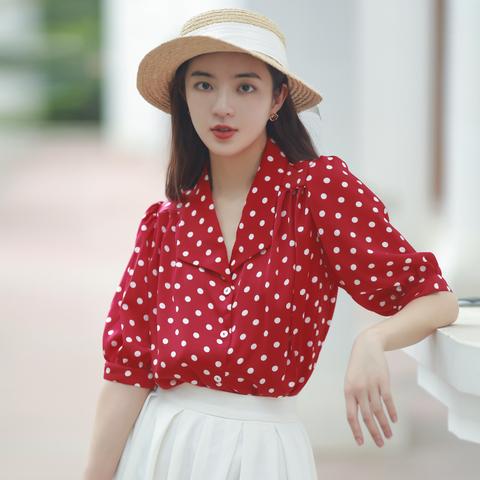 复古港风红色波点短袖上衣雪纺衬衫宽松大码白色半身裙套装裙女夏