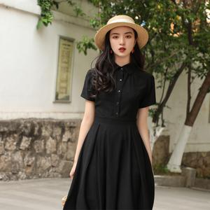 2020夏季新款复古港风显瘦衬衫连衣裙黑色桔梗裙法式初恋