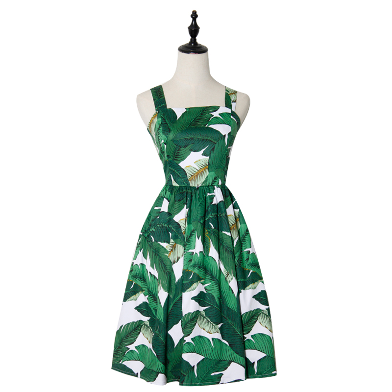 Домашнее 2017 новый санья ретро хлопок летние платья, тонкий юбки и зеленые банановые листья сарафаны