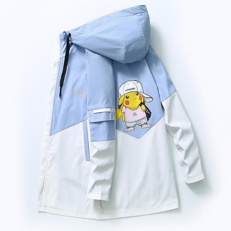 男士秋季中长款连帽风衣宽松潮流帅气学生卡通夹克外套YK975-P55