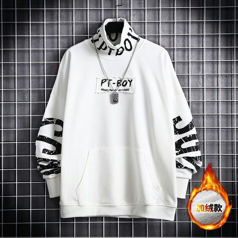 High collar Plush sweater mens loose fashion casual sports bottoming shirt spring and Autumn New American fashion brand handsome top