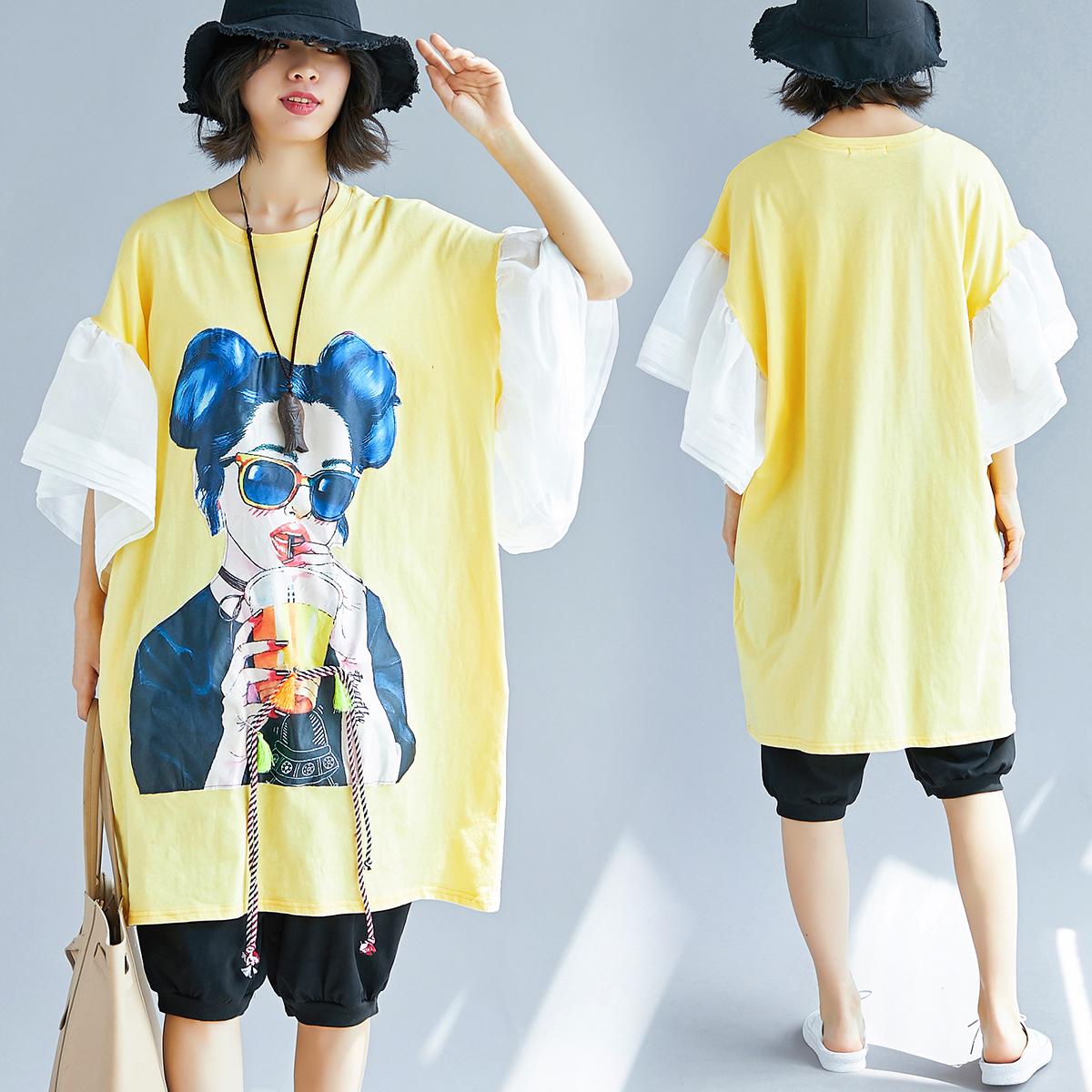 实拍5956#泰国潮流喇叭袖胖MM中长款文艺拼接连衣裙(定价59起)