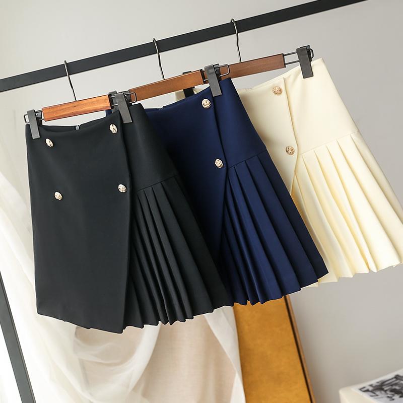大厂订单!铂金纽扣!垂坠有质感春夏高腰显瘦百褶裙减龄半身裙裤
