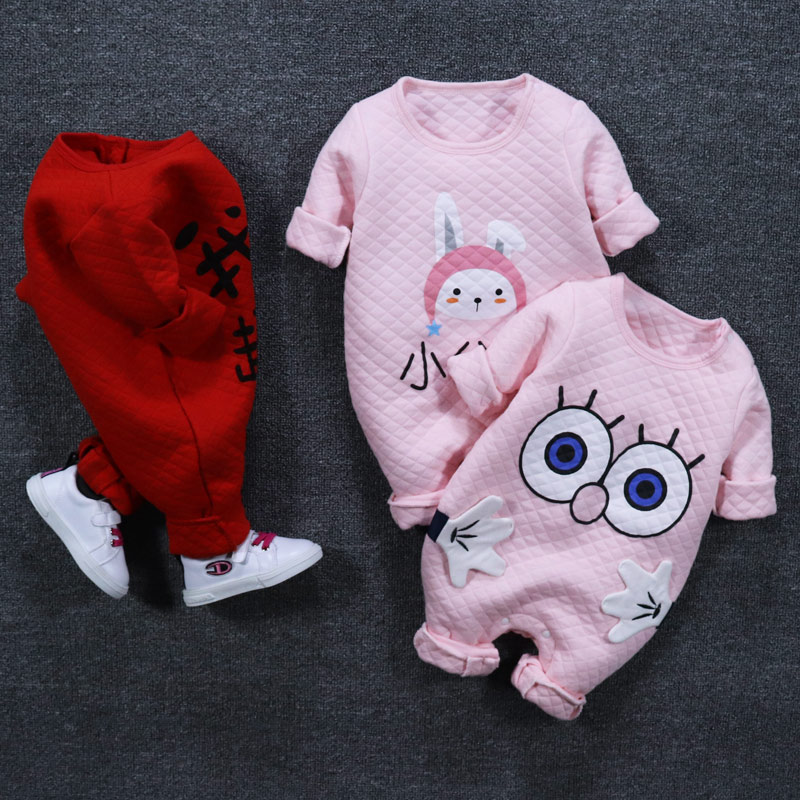 新生婴儿连体衣服套装春秋冬装哈衣女宝宝公主婴幼儿薄款夹棉保暖买三送一