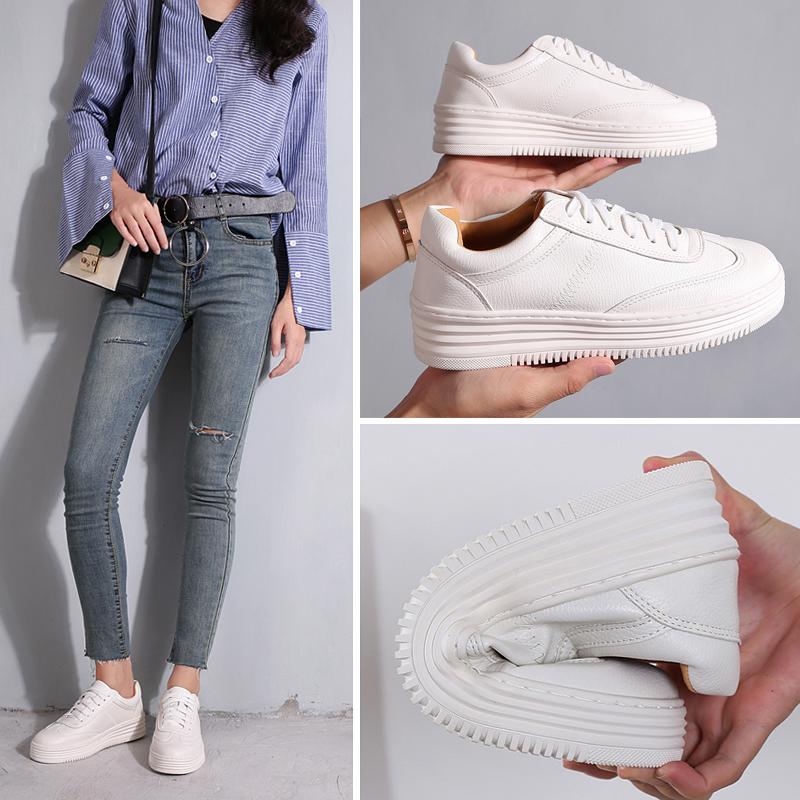 透气小白鞋女厚底新款2020春夏爆款百搭街拍增高网纱镂空平底板鞋图片