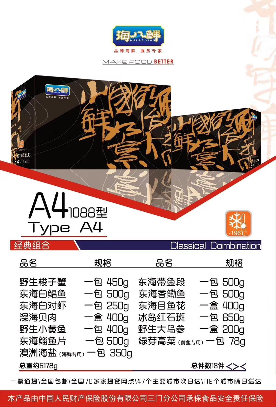 2019年 海八鲜大礼包 A41088型 年货送礼礼盒 海鲜提货券 包邮