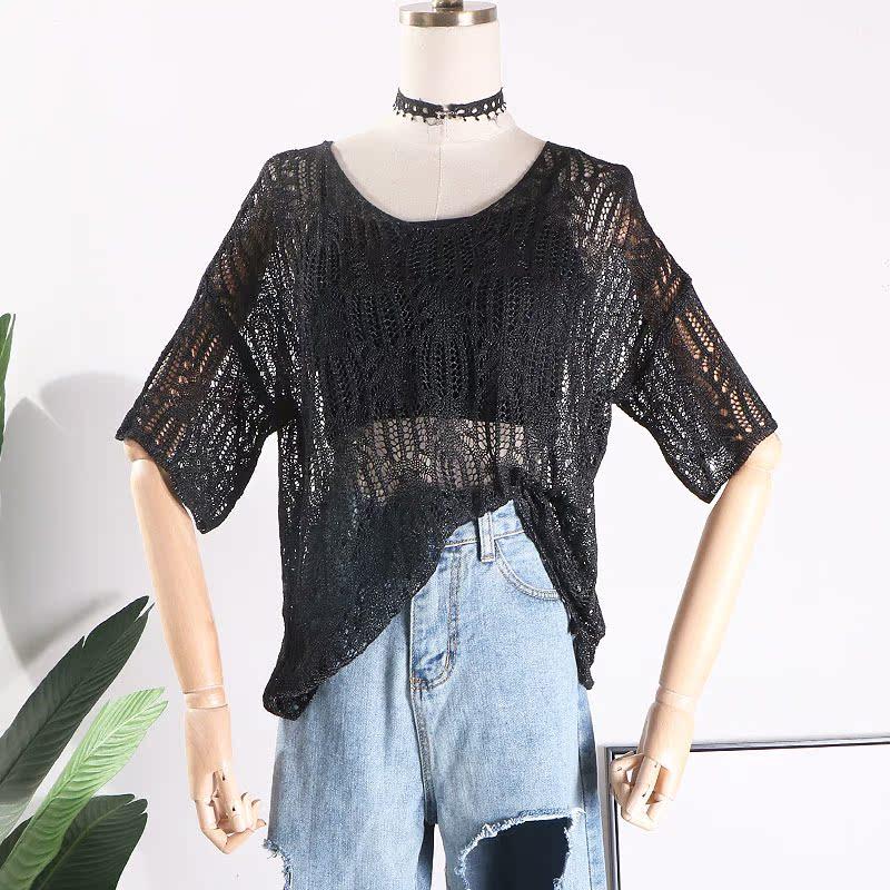 E@21韓版鏤空透視針織衫夏季2018新款寬鬆時尚百搭上衣女不含內搭