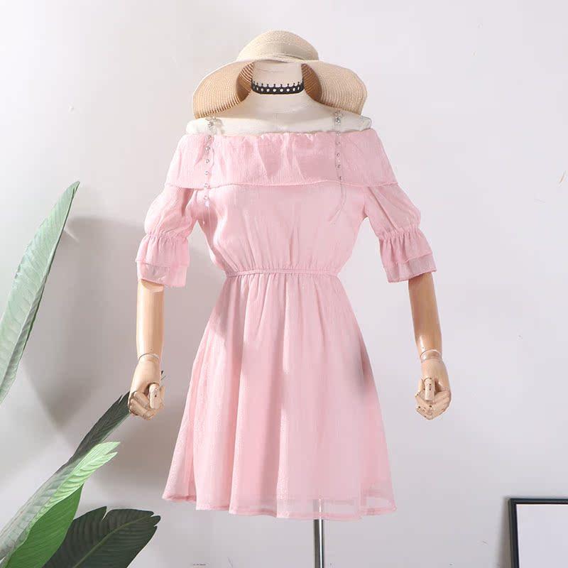 【包邮】G@21甜美吊带露肩女装裙子夏季收腰显瘦一字领连衣裙