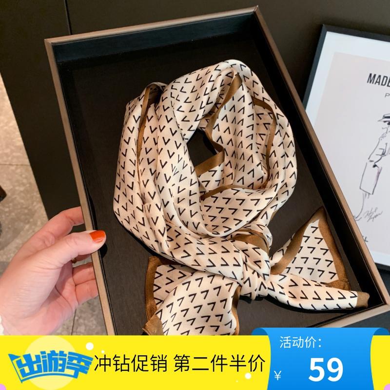2021丝绸春季韩版字母小领巾真丝围巾长飘带香槟米桑蚕丝丝巾长条