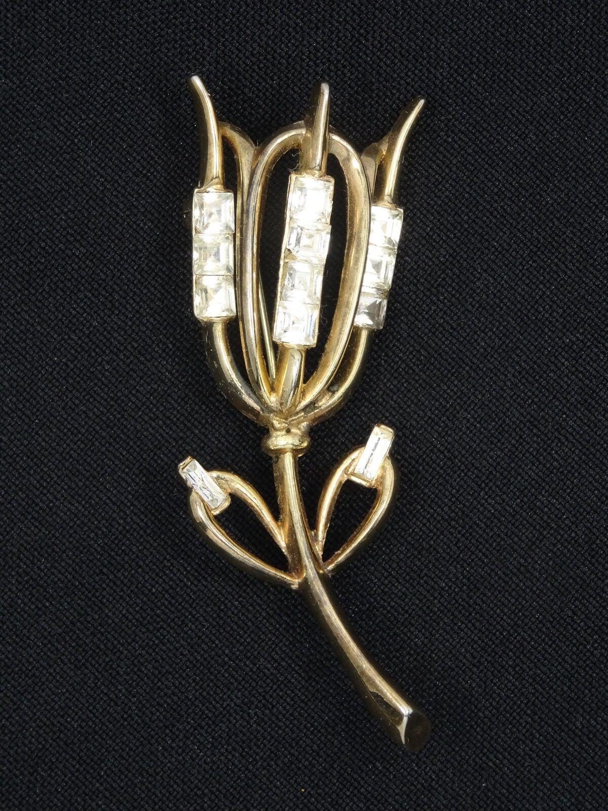 Buy retro 50s crown Trifari Alfred Philippe gem tulip Pin Brooch 2.5