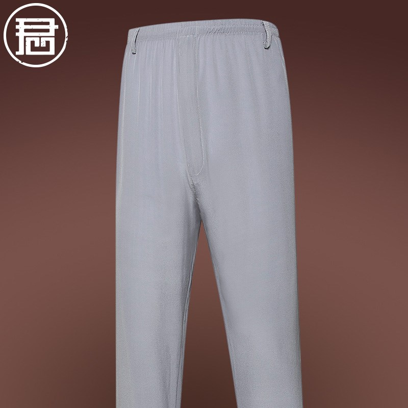 Middle aged and old mens pants summer thin silk silkworm silk mens pants dad Chinese style casual pants elastic pants