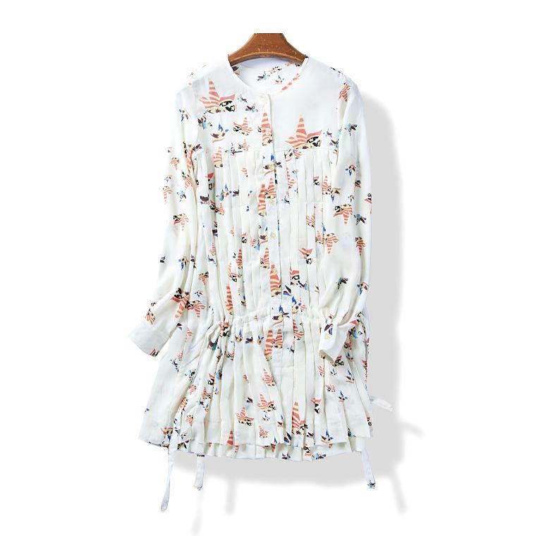 34216 春夏季新款女裝韓版舒適寬鬆長袖連衣裙碎花百褶短裙5月22