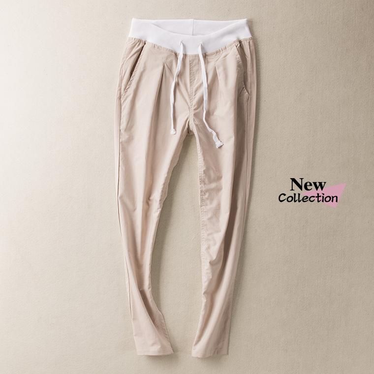 EVER6034 летнее платье торговли тощий ребристые упругие талии и шнурок для удобные глядя брюки ноги хлопок W34
