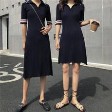 实 4669#4670#2019秋polo领撞色拼接中长款a字摆针织短袖连衣裙女