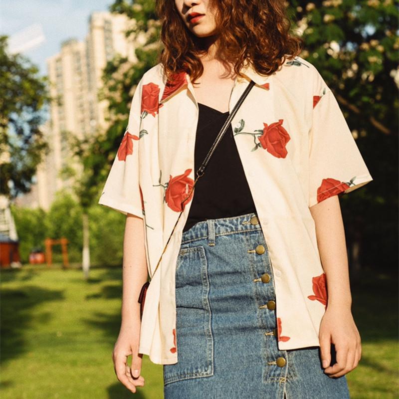 法式玫瑰花印花上衣翻领短袖夏季衬衫