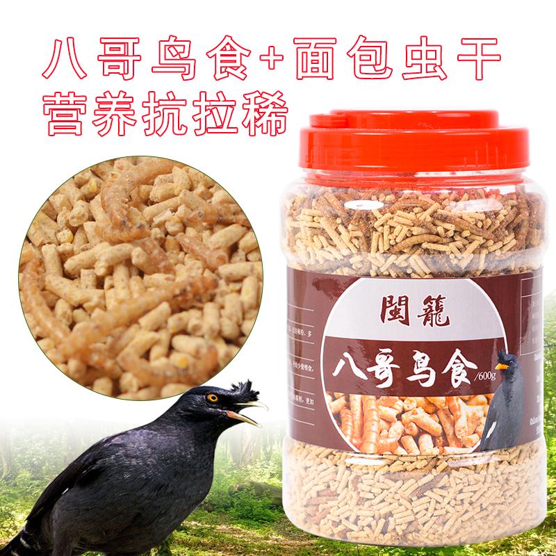 八哥鸟食精品罐装600克 面包虫八哥饲料 鹩哥鸟饲料 抗拉稀鸟粮食