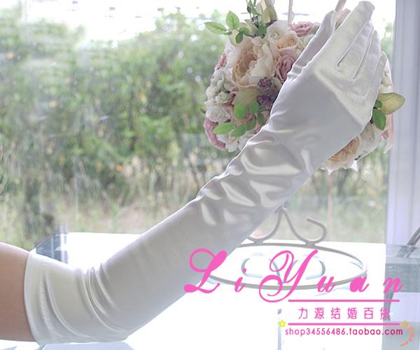 Сила источник выйти замуж невеста свадьба перчатки платья атлас сверхдальних модельа живая локоть зима красный и белый метров черный эластичность перчатки
