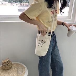 韩版可爱水杯便携手提袋帆布斜挎包女水瓶袋简约学生百搭手机包袋