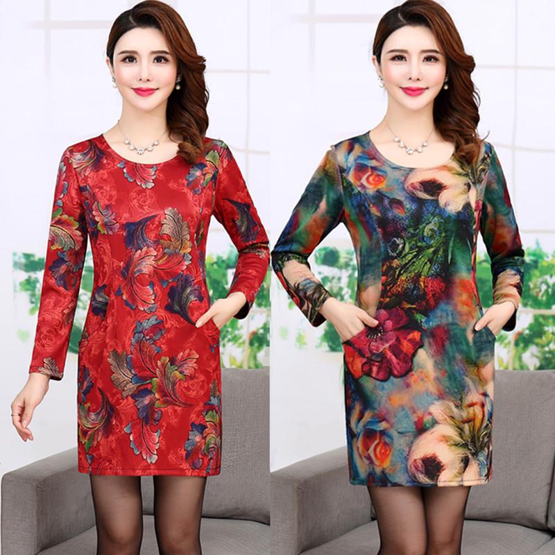 (用162元券)春秋季新品中年女装长袖修身连衣裙