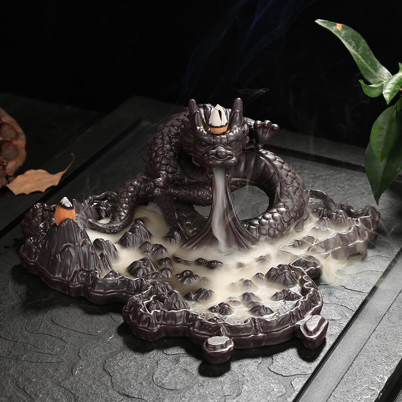 逆流する香炉のアイデアは大きいサイズを並べて陶磁器の家庭内の茶道を観賞します。古紫の砂の白檀の香りをまねて沈めます。