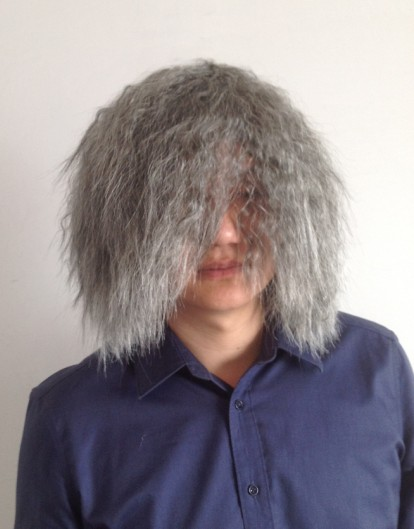 Role play beggar fake head cover explosive head old beggar wig flower white wig men and women stage performance