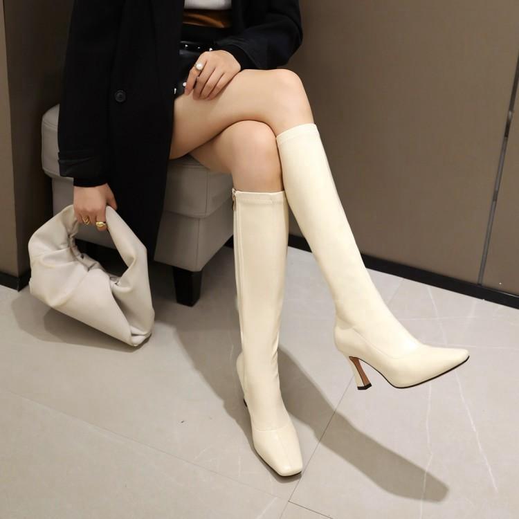 新款白色米色靴子女高跟高筒拉链方头女鞋秋冬大码女靴 40-48 CH