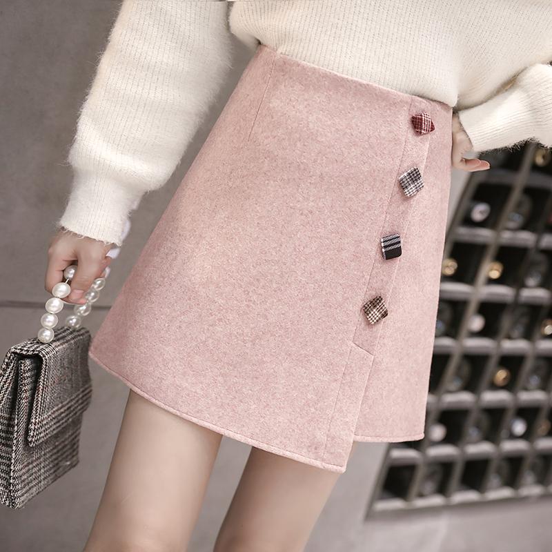 单排扣开叉毛呢半身裙不规则高腰包臀显瘦A字裙短裙Q2011P50
