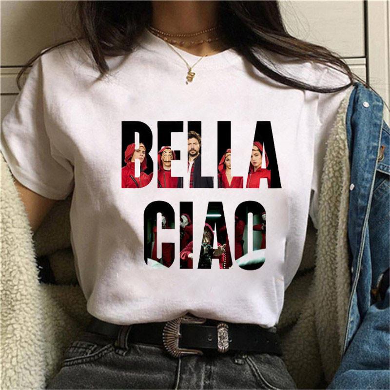 纸牌屋女权T恤La Casa De Papel T恤滑稽的T恤时尚女性衣服T恤
