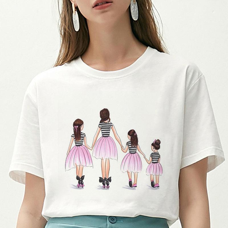 Amazon夏スタイル女装半袖ママと子供Mothers Day母の日カジュアルホワイトTシャツ