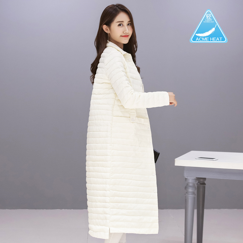 Autumn and winter 2019 Korean version of light and thin down clothing womens long stand collar small a-word over the knee thin coat plus size