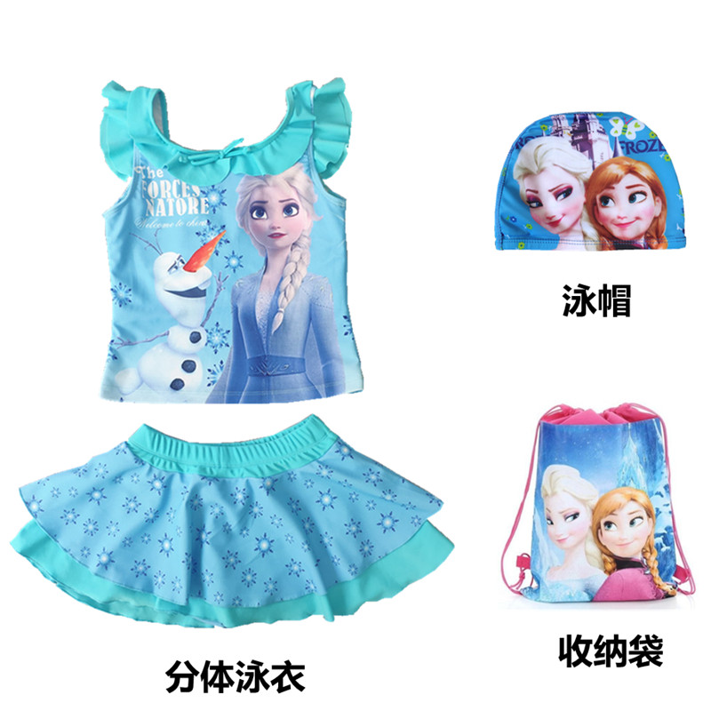 Childrens swimsuit ice and snow girl Princess Elsa swimsuit girls one piece flat angle middle school kids quick drying swimsuit