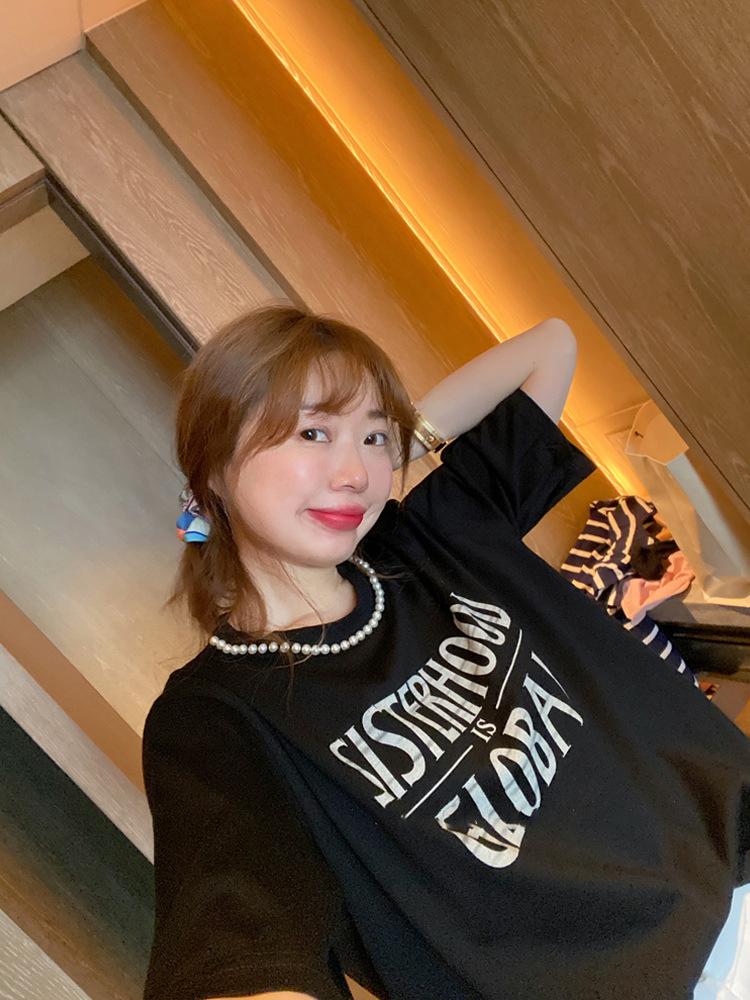 2021韩国 波拉家东大门定制夏 黑色领口珍珠字母短袖T恤