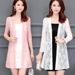 蕾丝小开衫女中长款配旗袍裙子的薄款镂空披肩外搭防晒衣夏季外套