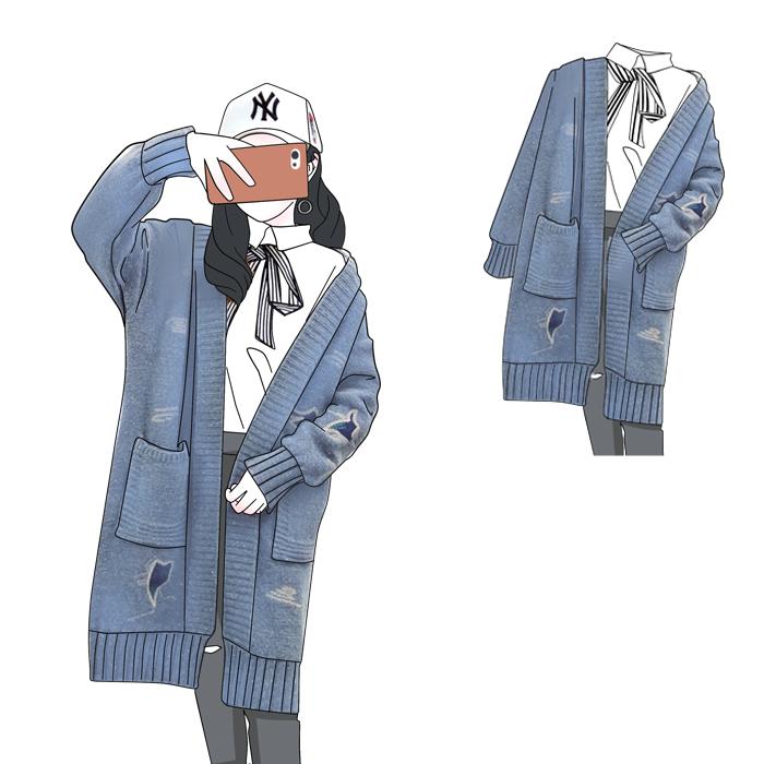 加肥加大码女装2018秋装新款胖mm中长款宽松显瘦长袖开衫毛衣外套