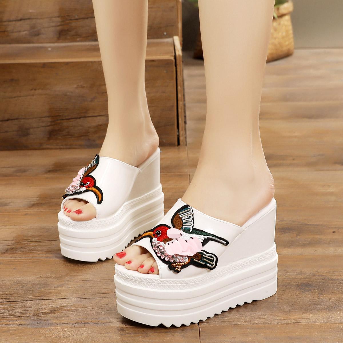 12CM坡跟超高跟凉鞋拖鞋女防水台松糕厚底鱼嘴鞋欧美夏季白色女拖