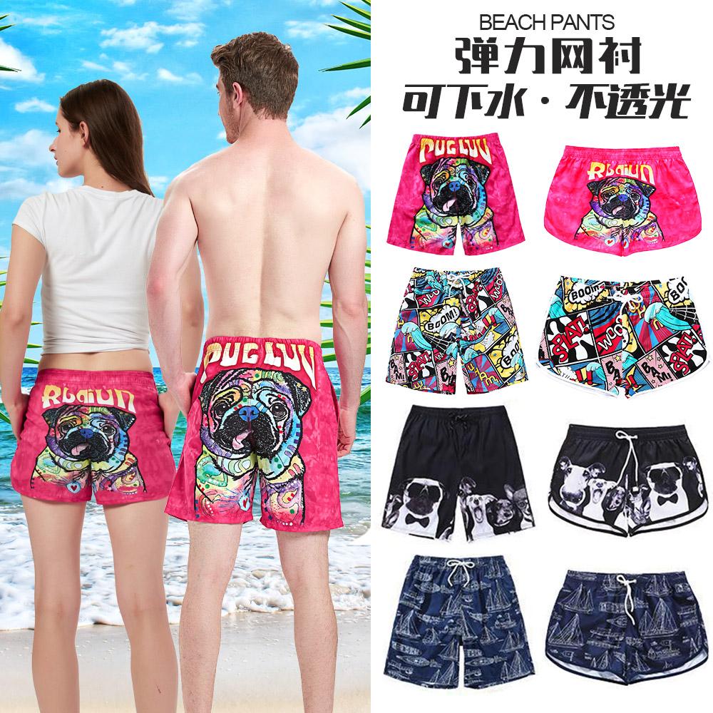 沙滩裤男海边度假可下水五分潮牌速干宽松大码泳裤情侣套装女短裤
