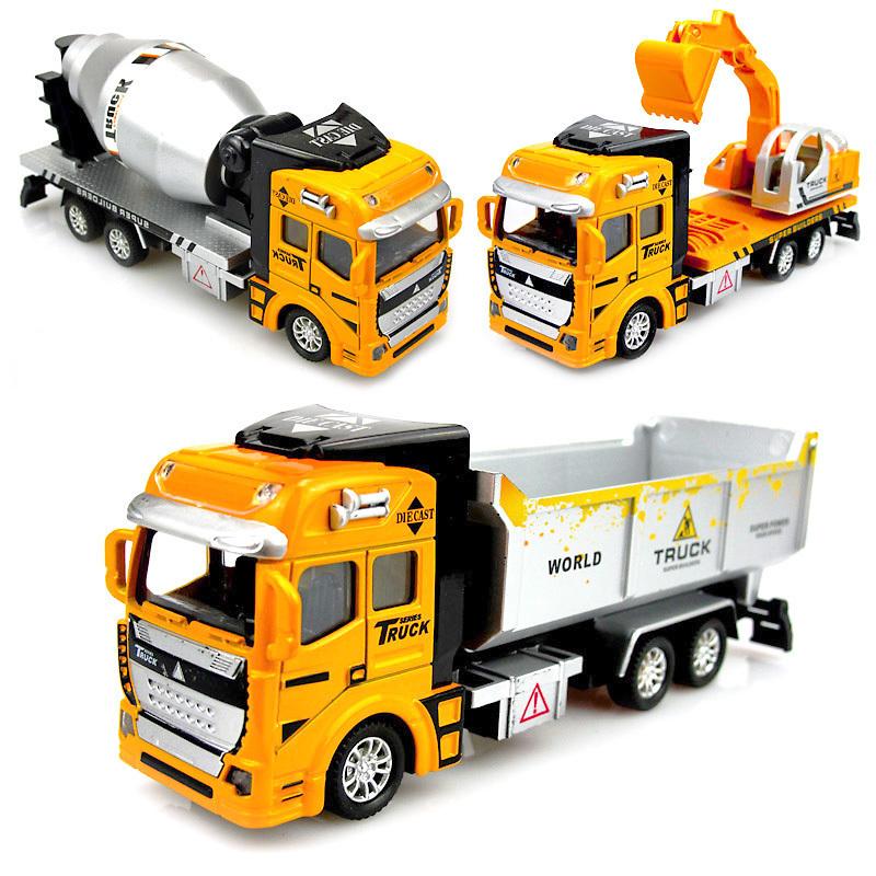 合金回力车工程车套装大卡车水泥搅拌车挖掘机儿童玩具车男孩模型