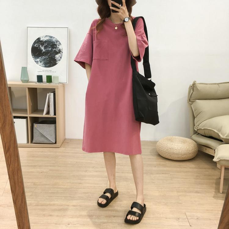 韩版宽松中长款口袋短袖T恤女大码显瘦后背刺绣字母懒人连衣裙潮图片