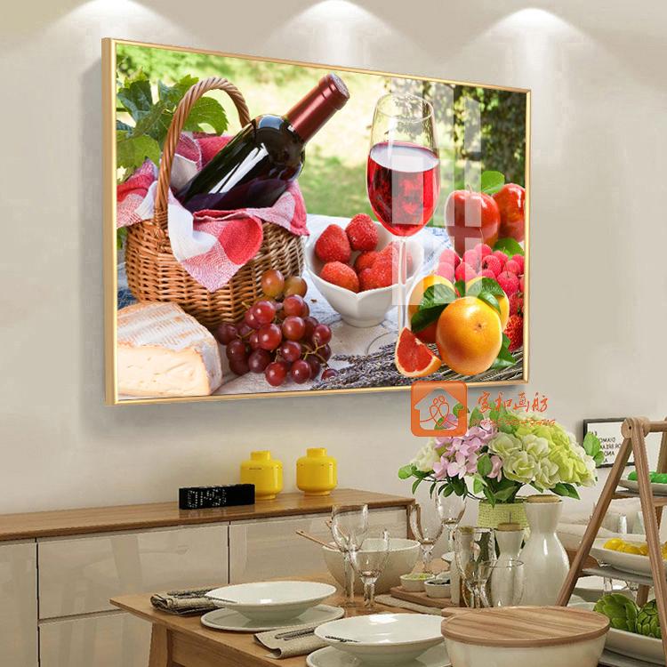餐廳飯廳廚房掛畫墻畫現代簡約水果花卉裝飾畫無框畫壁畫單幅包郵