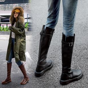 秋冬骑士靴小个子长靴中筒马靴高筒皮靴秋款 靴子 长筒靴女2019新款