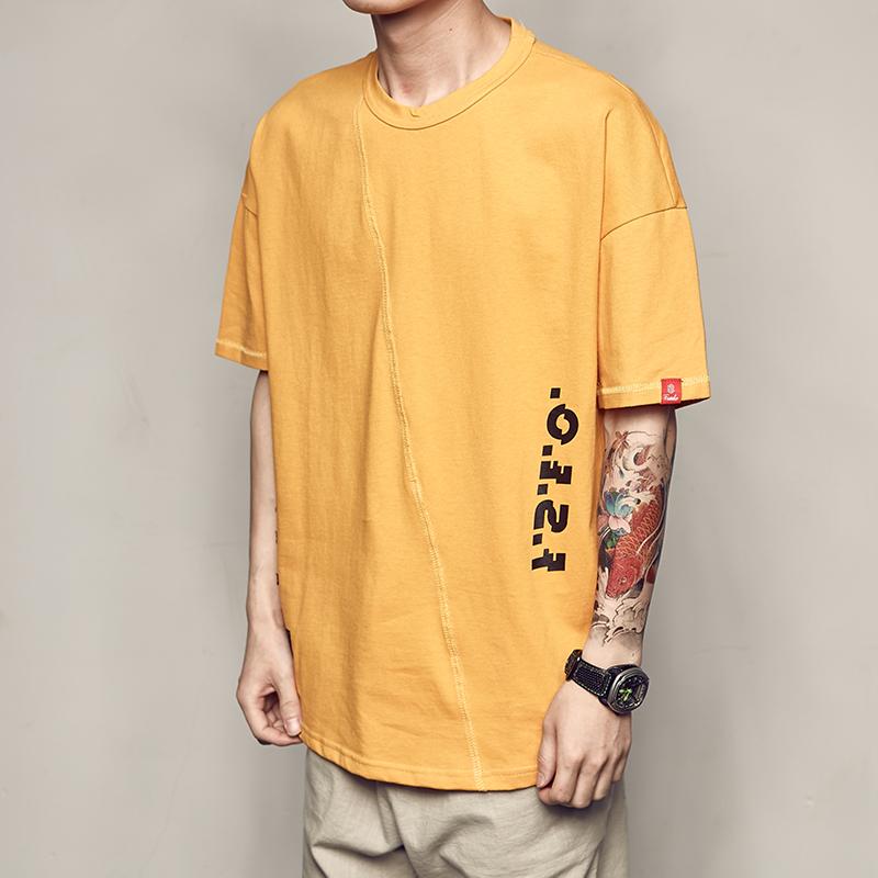 男道夏季新款个性斜纹数字印花短袖男士T恤宽松圆领TEE青少年汗衫(用1元券)
